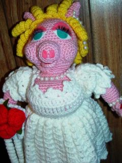"Large 18"" Miss Piggy Fully Crocheted Bride Doll Getting Married 2 Kermit Wedding"