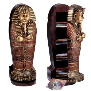 Classic Egyptian Statue King Tut Tutankhamen Sculpture Statue CD Cabinet Shelf