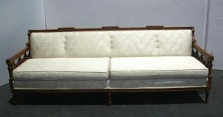 Vintage French Provincial Long Off White Settee Sofa Silk Brocade Fabric