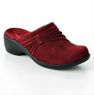 New Womens Suede Leather Clogs Shoes 5 Medium Red Croft Barrow $54 99