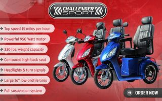 Challenger Sport 3 Wheel Electric Mobility Scooter Super Fast Power Alarm 2014