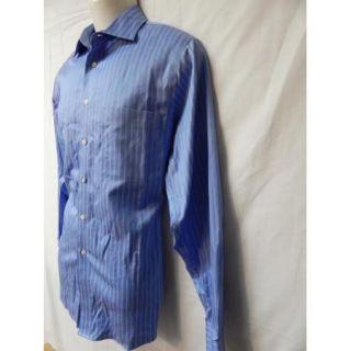 Mens Calvin Klein Premium Blue Stripe Button Front Shirt Non Iron 15 5 x 35 EXC