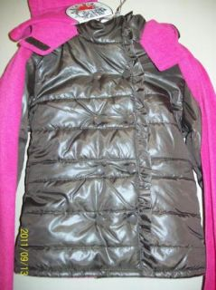 Bongo Girls Puffer Double Breasted Hooded Winter Jacket Hat Scarf Brown 7 8