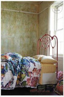 New Anthropologie Roseland Multi Flower Floral Twin Quilt Bedding Bed Bedspread