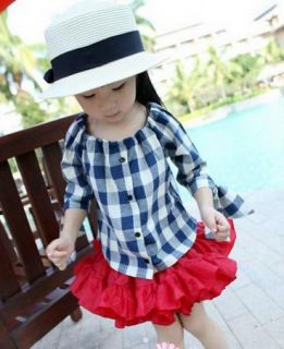 Girl Baby Plaid Shirt 1 7Y New Kids Bow Tops Cotton Ruffle Clothes Lovely Blouse