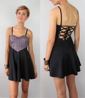 Rainbow Sequin Love Heart Bodice Bustier Criss Cross Cut Out Back Dress S