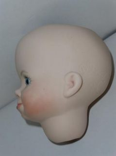 Ceramic Bisque Baby Doll Open Head Blue Eyes Hand Painted Lips Cheeks Eyelashes