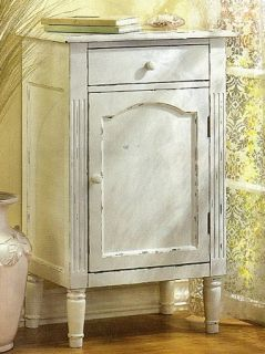 "Wood Cabinet 1 Drawer and Door Distressed White Shabby Country Chic 29"" High SLC"