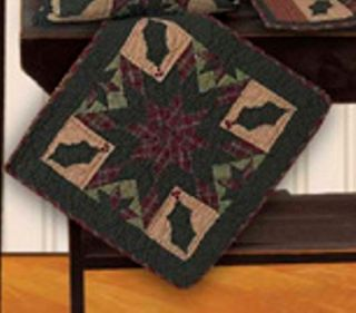 """Twinkle Star Hollyberry Quilt Block Wallhanging Table Mat Tea Dyed 18""""X18"""""""