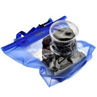 DSLR SLR Camera Underwater Waterproof Housing Case Pouch Dry Bag Clear Blue