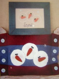 Pattern Quilt Quilting Felt Christmas Snowman Pillow Stitchery Applique Snow