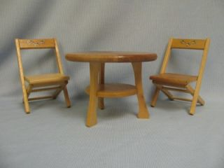 "Two 1957 Strombecker Folding Chairs Table for 7 5"" Betsy McCall Doll"