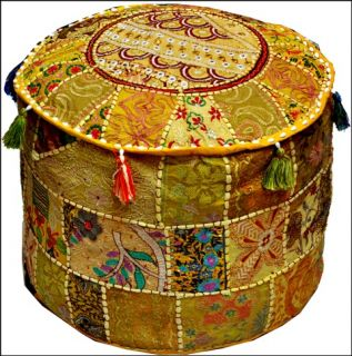 "Indian Yellow 18"" Ottoman Pouf Stool Chair Round Vtg Handmade Boho India Decor"