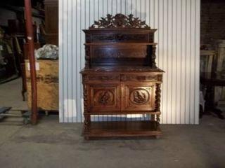Antique Marble Top Oak Griffin French Hunt Black Forest Server Sideboard DR77