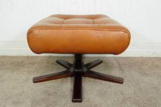Vtg Mid Century Swedish Modern GotE Mobler Brown Leather Ottoman Chair Danish