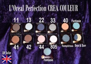 Loreal Crea Perfection Eyeshadow 2nds Blue Silver Green Brown White Taupe