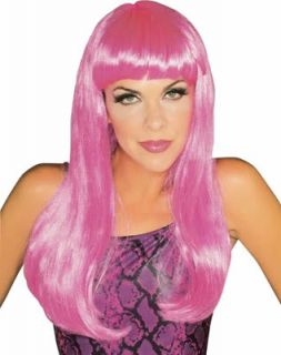 Long Hot Pink Halloween Costume Glamour Wig Sexy 80's Punk Bachelorette Party