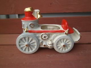 Vintage 1950's Fredricksburg Bisque Pottery Planter Steam Engine Car Automobile