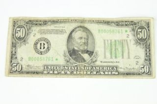 1934 Vintage $50 Dollars Bill Federal Reserve Star Note Early Issue RARE