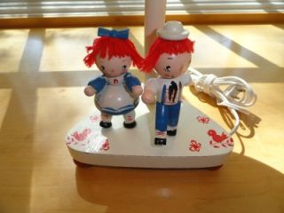 Vtg Irmi Young Designs Raggedy Ann Andy Wood Wooden Nursery Baby Child Lamp