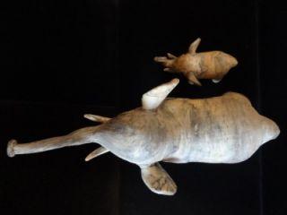 Antique Paper Mache Elephant Figurine Vintage Oyster Shell Papier Sculpture Art