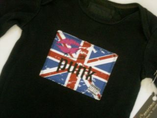 Black Punk Britain UK Boy Girl Baby Long Sleeve Bodysuit Red Blue Shirt Clothes