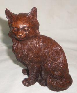 "Vtg Cat Figurine 5"" Crushed Pecan Shells Red Mill Mfg"