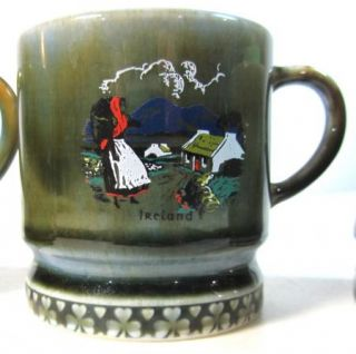 4 Vintage Wade Irish Porcelain Green Coffee Cups Mugs Made in Ireland
