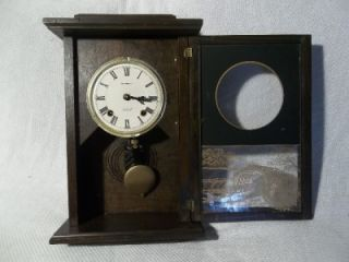 Vintage Automatic 31 Day Pendulum Wall Clock Glass Door w Cover Bridge NDS SPRNG