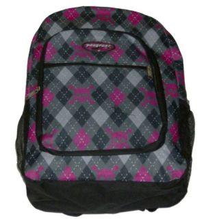 ProSport Gray Argyle Pink Skull Backpack Sport School Travel Back Pack