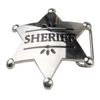 Mens Sheriff Badge Stars Symbol Metal Belt Buckles