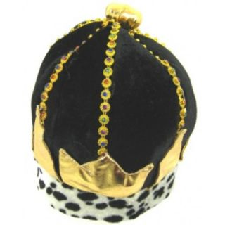 Black Fabric Gold Trim Kings Queens Medieval Crown Hat Fancy Dress Costume