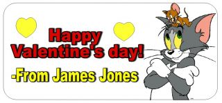 Tom and Jerry Valentine's Day Stickers for Goodie Bags or Envelopes