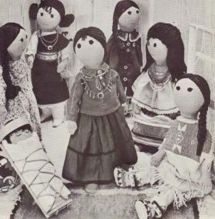 Vtg 1966 Womans Day Doll Pattern Joan Russell Native American Indian Dolls