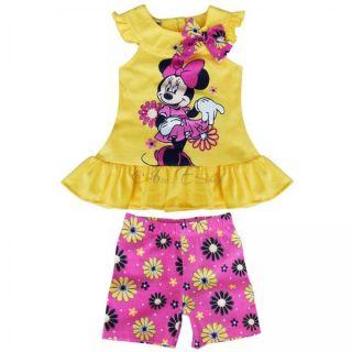 2pcs Girl Baby Minnie Mouse Outfit Suit Top Dress T Shirt Floral Shorts Pants 2T