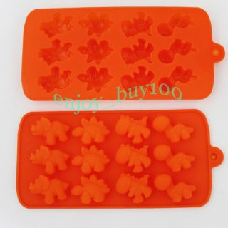 Lovely 12 Dinosaur Shape Ice Cube Tray Silicone Mold Candle Soap Mould Maker