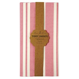 TOOT Sweet Pink White Stripe Girls Birthday Party Paper Tablecover