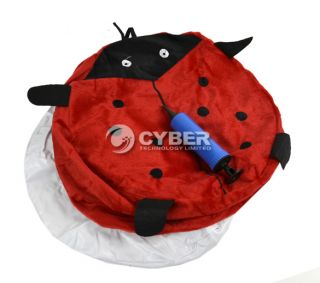 DZ88 New Cute Ladybug Villus Inflatable Stools Pouf Chair Seat Bedroom Red Cute