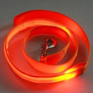 Orange LED Flashing Light Dog Pet Rope Belt Harness Safety Glow Leash Lead