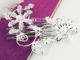 New Charm Wedding Bride Silver Plated Rhinestone Crystal Hair Clip Comb Headband