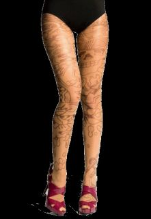 Ed Hardy Tattoo Hosiery Sheer Nude L Panty Hose Unique Stockings Tights New