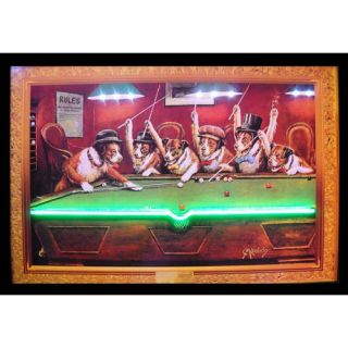 Dogs Playing Pool Neon LED Poster Sign