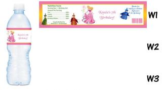 Princess Sleeping Beauty Printed Water Bottle Labels Birthday Party Favors