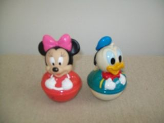 Minnie Mouse and Donald Duck Babies Rollie Pollie Dolls Plastic Round Bottoms