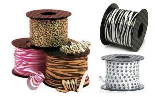 "Fun Animal Print Curling Ribbon 20yds 1 4"" Tiger Leopard Zebra Paw Print"