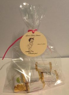 Baby Shower Favor Tags Vintage Look Baby Girl w Ruffle Diaper Qty Discounts
