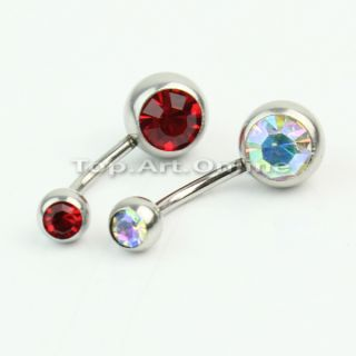 12 x 316L Surgical Steel Crystal Rhinestone Belly Button Navel Bar Ring Piercing
