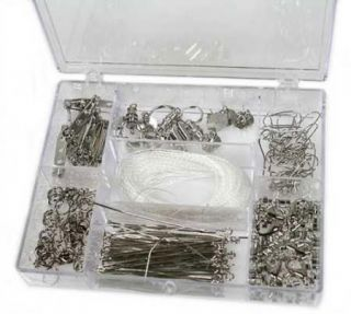 178 PC Jewelry Findings Starter Kit in Storage Box Bright Silver
