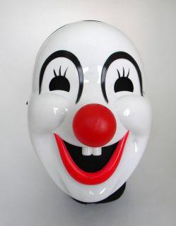 White Joker Clown Circus Carnival Fancy Dress Costume Full Face Party Mask New