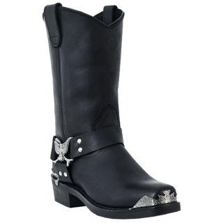 "Dingo Men's Eagle Harness Strap 12"" Black Leather Cowboy Western Boots DI19053"